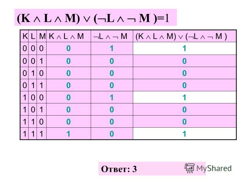 (K L M) ( L M )=1 Ответ: 3 KLM K L M L M(K L M) ( L M ) 000011 001000 010000 011000 100011 101000 110000 111101