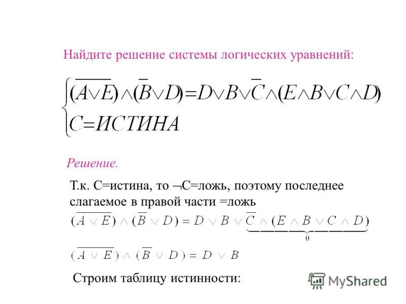 Найдите решение системы логических уравнений: Решение. Т.к. С=истина, то С=ложь, поэтому последнее слагаемое в правой части =ложь Строим таблицу истинности: