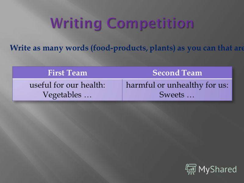 Write as many words (food-products, plants) as you can that are