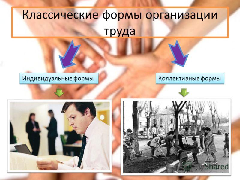 Классические формы организации труда Индивидуальные формы Коллективные формы