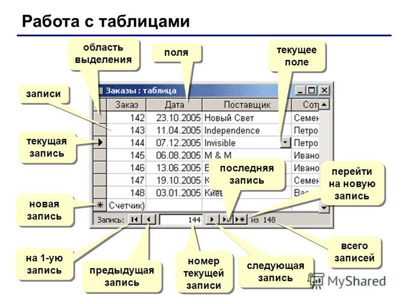 Работа с таблицами поля записи текущая запись область выделения новая запись на 1-ую запись предыдущая запись номер текущей записи следующая запись последняя запись перейти на новую запись всего записей текущее поле