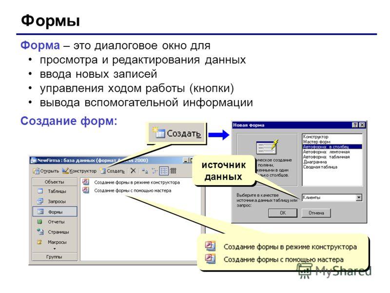 Формы Форма – это диалоговое окно для просмотра и редактирования данных ввода новых записей управления ходом работы (кнопки) вывода вспомогательной информации Создание форм: источник данных