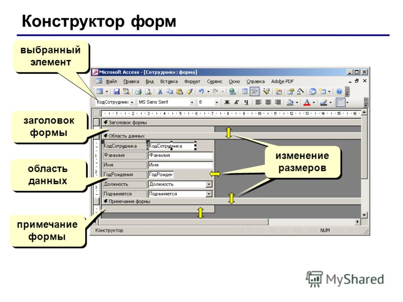 Конструктор форм выбранный элемент заголовок формы область данных примечание формы изменение размеров