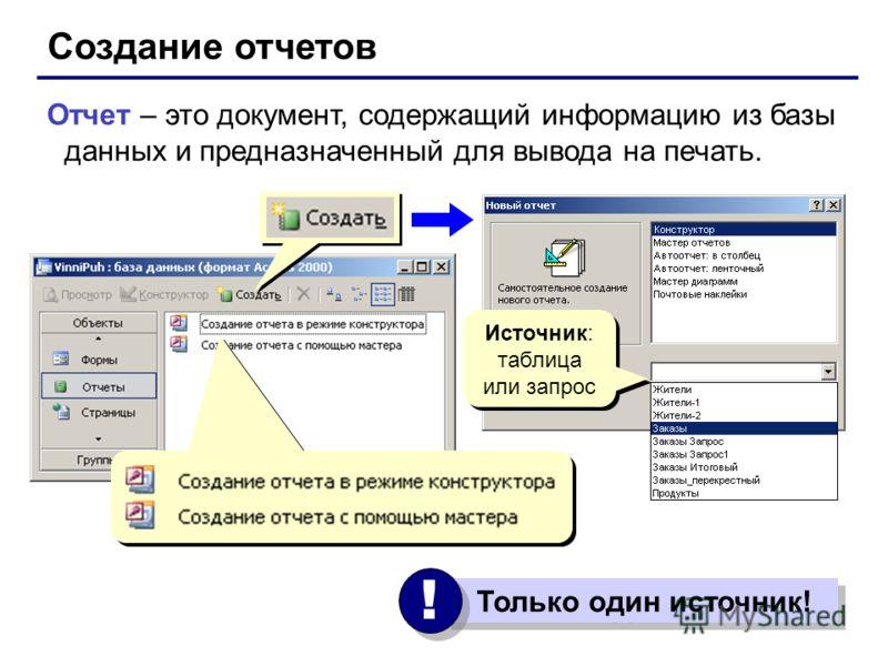 Создание отчетов Отчет – это документ, содержащий информацию из базы данных и предназначенный для вывода на печать. Только один источник! ! ! Источник: таблица или запрос