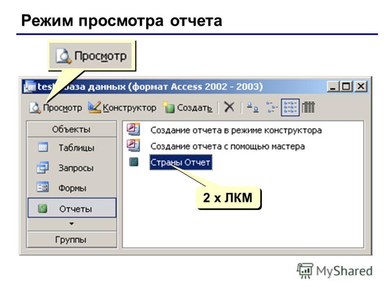 Режим просмотра отчета 2 x ЛКМ