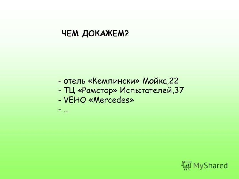 ЧЕМ ДОКАЖЕМ? - отель «Кемпински» Мойка,22 - ТЦ «Рамстор» Испытателей,37 - V- VEHO «Mercedes» - …
