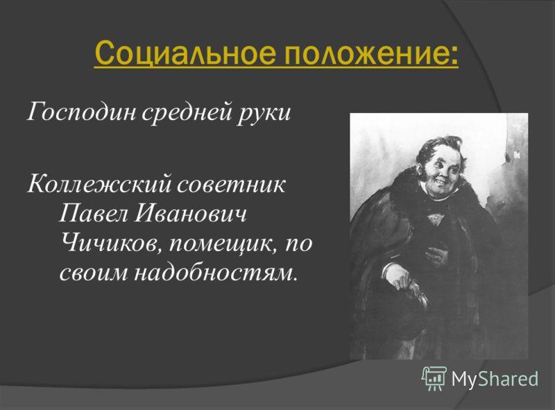 Социальное положение: Господин средней руки Коллежский советник Павел Иванович Чичиков, помещик, по своим надобностям.