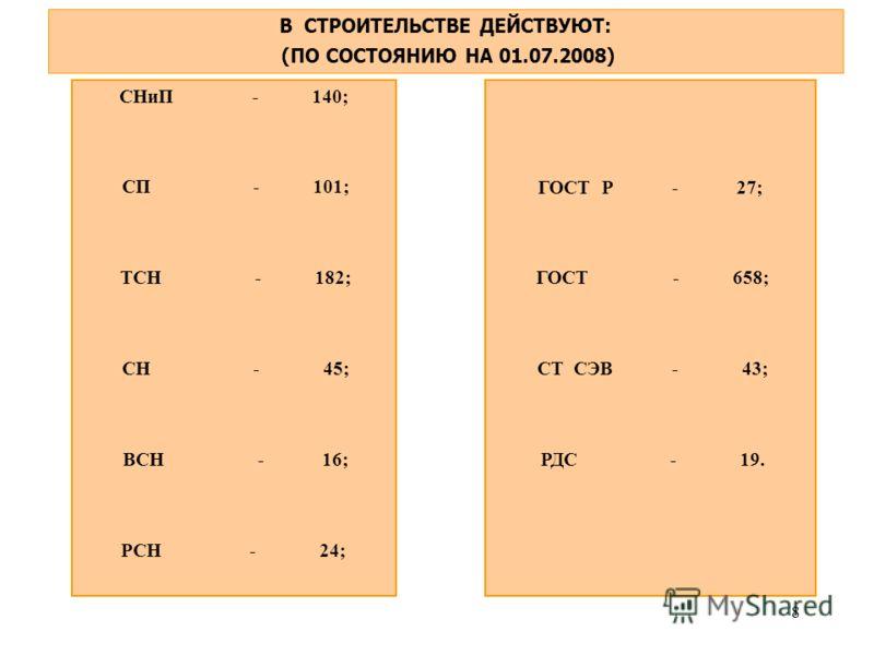 8 В СТРОИТЕЛЬСТВЕ ДЕЙСТВУЮТ: (ПО СОСТОЯНИЮ НА 01.07.2008) СНиП - 140; СП - 101; ТСН - 182; СН - 45; ВСН - 16; РСН - 24; ГОСТ Р - 27; ГОСТ - 658; СТ СЭВ - 43; РДС - 19.
