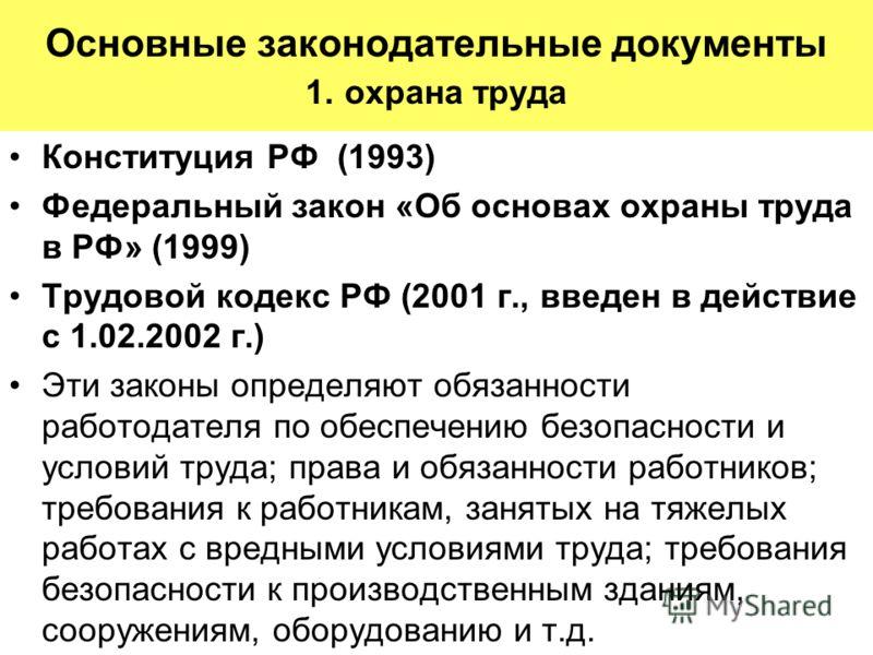 Основные законодательные документы 1. охрана труда Конституция РФ (1993) Федеральный закон «Об основах охраны труда в РФ» (1999) Трудовой кодекс РФ (2001 г., введен в действие с 1.02.2002 г.) Эти законы определяют обязанности работодателя по обеспече