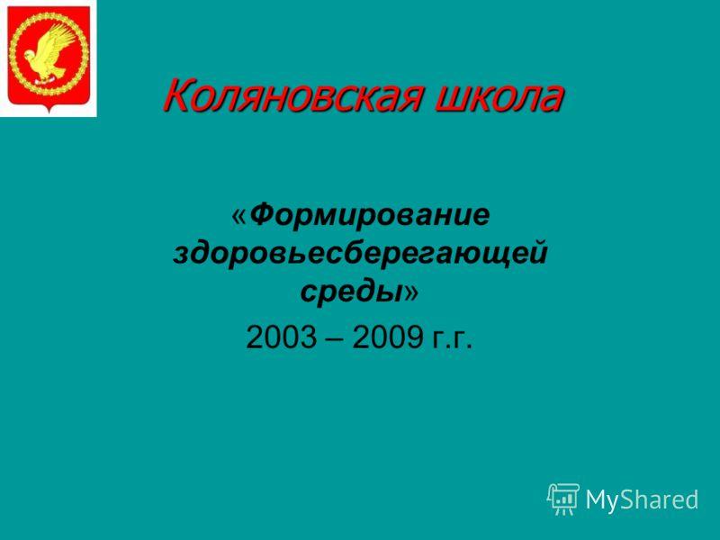 Коляновская школа «Формирование здоровьесберегающей среды» 2003 – 2009 г.г.