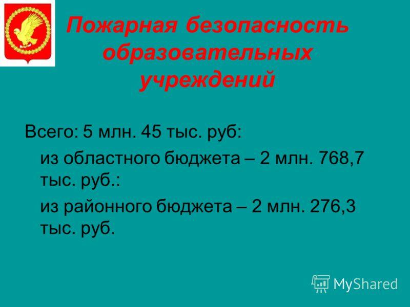 Пожарная безопасность образовательных учреждений Всего: 5 млн. 45 тыс. руб: из областного бюджета – 2 млн. 768,7 тыс. руб.: из районного бюджета – 2 млн. 276,3 тыс. руб.