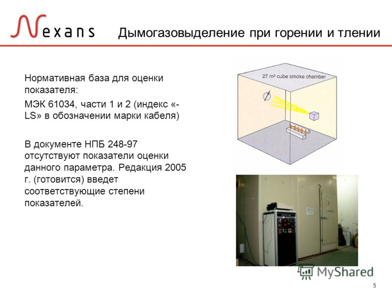 5 Дымогазовыделение при горении и тлении Нормативная база для оценки показателя: МЭК 61034, части 1 и 2 (индекс «- LS» в обозначении марки кабеля) В документе НПБ 248-97 отсутствуют показатели оценки данного параметра. Редакция 2005 г. (готовится) вв