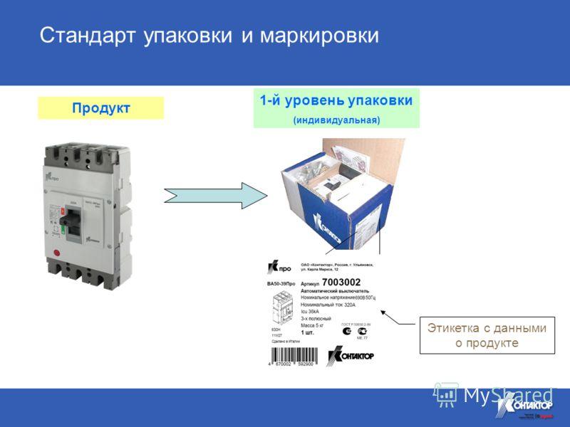 Этикетка с данными о продукте 1-й уровень упаковки (индивидуальная) Стандарт упаковки и маркировки Продукт