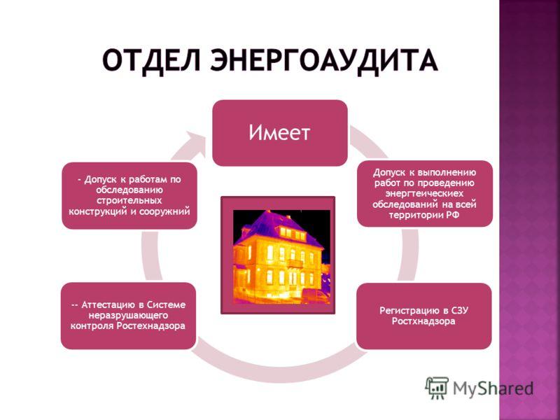 Имеет Регистрацию в СЗУ Ростхнадзора Допуск к выполнению работ по проведению энергтеическиех обследований на всей территории РФ -- Аттестацию в Системе неразрушающего контроля Ростехнадзора - Допуск к работам по обследованию строительных конструкций