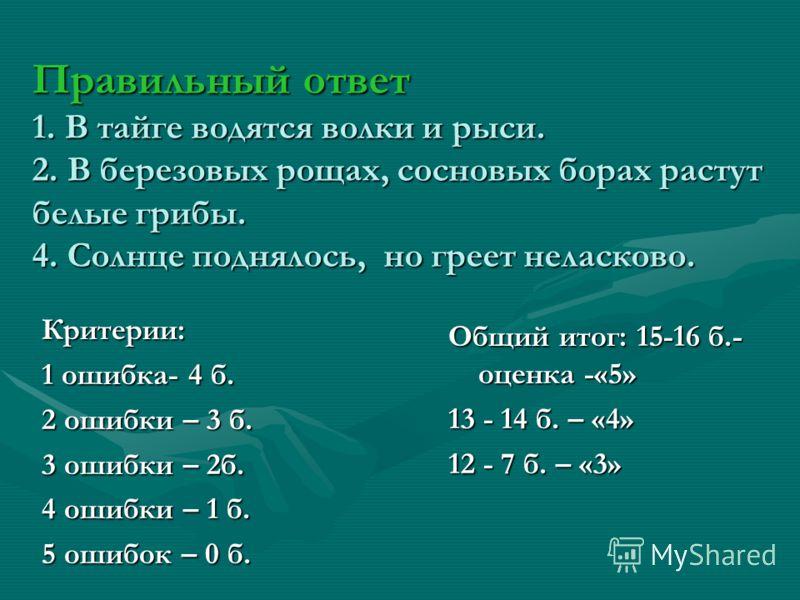 Правильный ответ 1. В тайге водятся волки и рыси. 2. В березовых рощах, сосновых борах растут белые грибы. 4. Солнце поднялось, но греет неласково. Критерии: 1 ошибка- 4 б. 2 ошибки – 3 б. 3 ошибки – 2б. 4 ошибки – 1 б. 5 ошибок – 0 б. Общий итог: 15