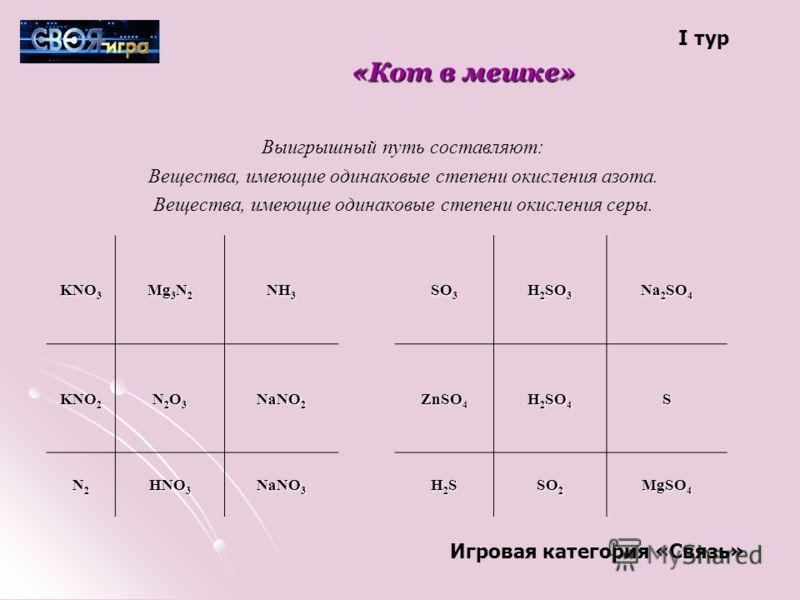 «Кот в мешке» Выигрышный путь составляют: Вещества, имеющие одинаковые степени окисления азота. Вещества, имеющие одинаковые степени окисления серы. KNO 3 Mg 3 N 2 NH 3 SO 3 H 2 SO 3 Na 2 SO 4 KNO 2 N2O3N2O3N2O3N2O3 NaNO 2 ZnSO 4 H 2 SO 4 S N2N2N2N2