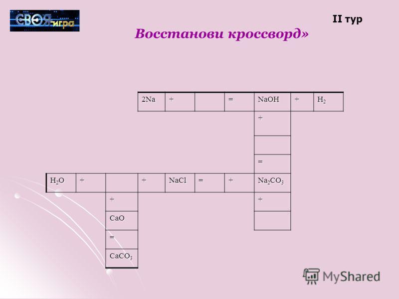 Восстанови кроссворд» 2Na+=NaOH+ H2H2H2H2 + = H2OH2OH2OH2O++NaCl=+ Na 2 CO 3 ++ CaO = CaCO 3 II тур