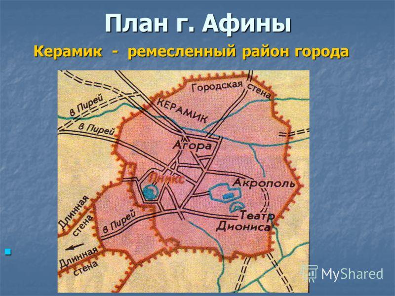 План г. Афины Керамик - ремесленный район города