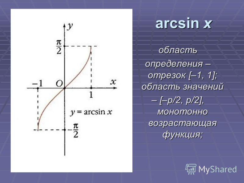 arcsin х область определения – отрезок [–1, 1]; область значений – [–p/2, p/2], монотонно возрастающая функция;