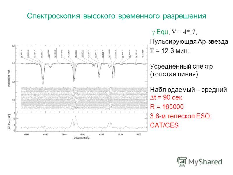 Спектроскопия высокого временного разрешения Equ, V = 4 m.7, Пульсирующая Ap-звезда Т = 12.3 мин. Усредненный спектр (толстая линия) Наблюдаемый – средний t = 90 сек. R = 165000 3.6-м телескоп ESO; CAT/CES