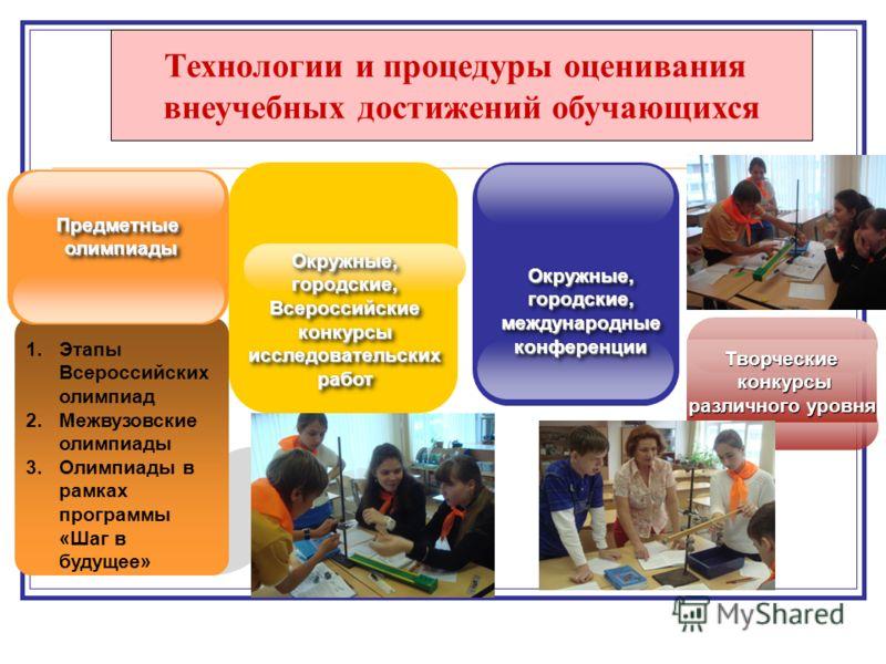 1.Этапы Всероссийских олимпиад 2.Межвузовские олимпиады 3.Олимпиады в рамках программы «Шаг в будущее» ПредметныеолимпиадыПредметныеолимпиады Окружные, городские, Всероссийскиеконкурсыисследовательскихработ Всероссийскиеконкурсыисследовательскихработ