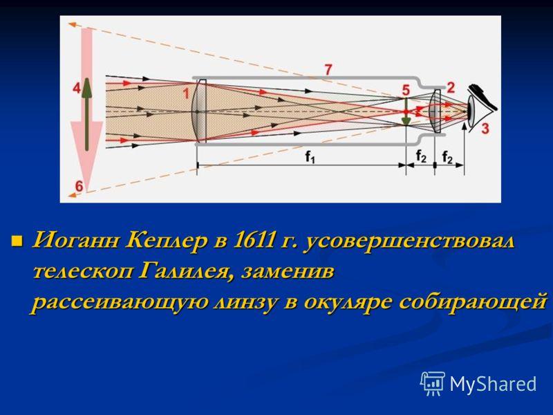 Иоганн Кеплер в 1611 г. усовершенствовал телескоп Галилея, заменив рассеивающую линзу в окуляре собирающей Иоганн Кеплер в 1611 г. усовершенствовал телескоп Галилея, заменив рассеивающую линзу в окуляре собирающей
