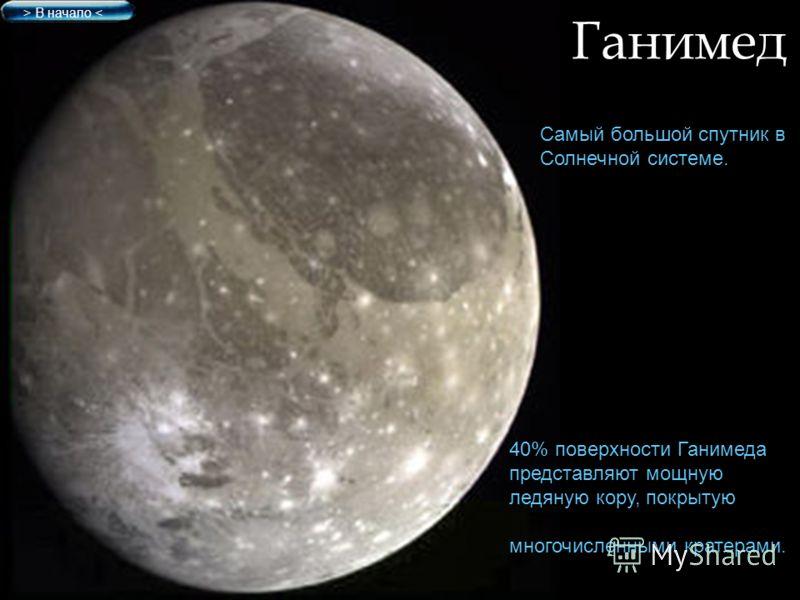 Ганимед Самый большой спутник в Солнечной системе. > В начало < 40% поверхности Ганимеда представляют мощную ледяную кору, покрытую многочисленными кратерами.