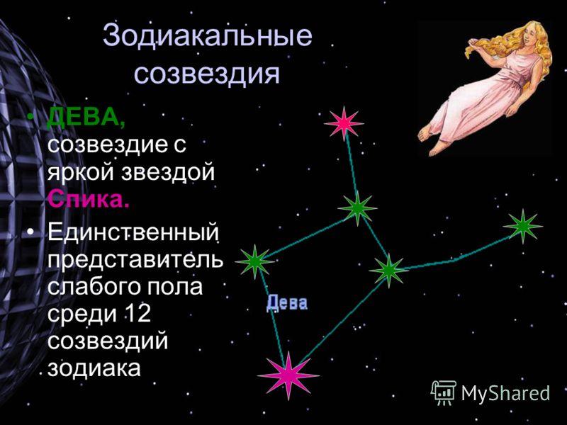 Зодиакальные созвездия ДЕВА, созвездие с яркой звездой Спика. Единственный представитель слабого пола среди 12 созвездий зодиака
