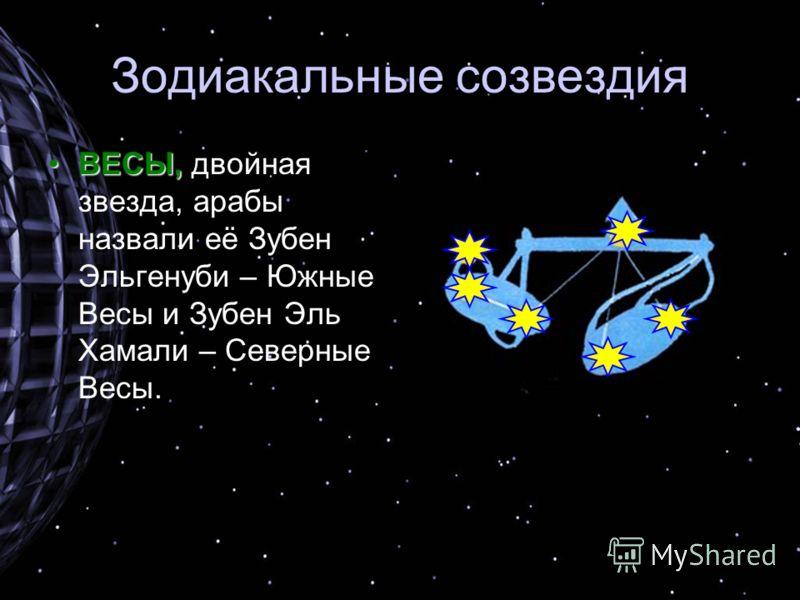 Зодиакальные созвездия ВЕСЫ,ВЕСЫ, двойная звезда, арабы назвали её Зубен Эльгенуби – Южные Весы и Зубен Эль Хамали – Северные Весы.