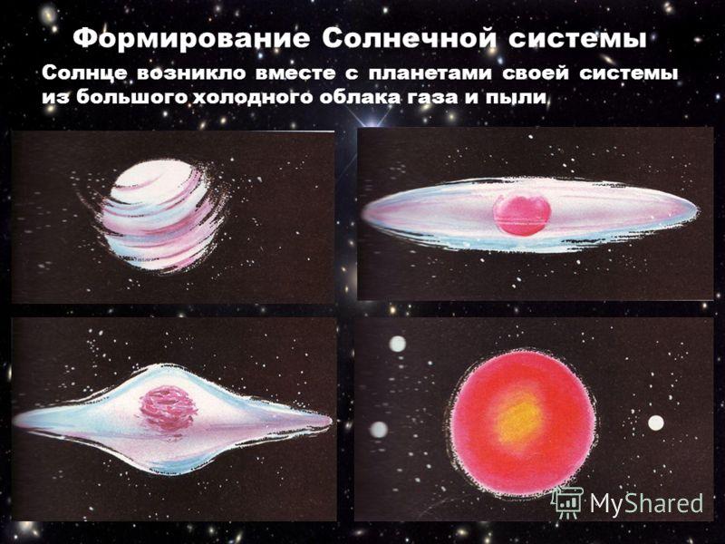 Формирование Солнечной системы Под действием центробежных сил оно превратилось в диск. Почти всё вещество облака сгустилось в центре этого диска в большой шар. Именно так, по-видимому, возникло Солнце Солнце возникло вместе с планетами своей системы