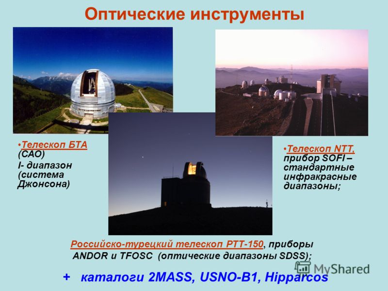 Оптические инструменты Российско-турецкий телескоп РТТ-150, приборы ANDOR и TFOSC (оптические диапазоны SDSS); Телескоп БТА (САО) I- диапазон (система Джонсона) Телескоп NTT, прибор SOFI – стандартные инфракрасные диапазоны; + каталоги 2MASS, USNO-B1