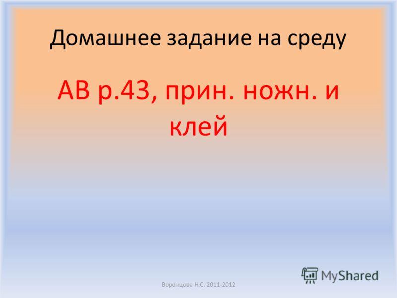 Домашнее задание на среду AB p.43, прин. ножн. и клей Воронцова Н.С. 2011-2012