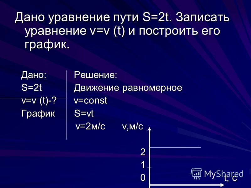 Дано уравнение пути S=2t. Записать уравнение v=v (t) и построить его график. Дано: Решение: S=2t Движение равномерное v=v (t)-? v=const График S=vt v=2м/с v,м/с v=2м/с v,м/с 2 2 1 0 t, c 0 t, c