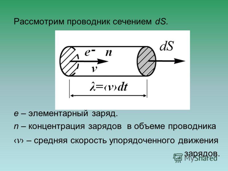 Рассмотрим проводник сечением dS. e – элементарный заряд. n – концентрация зарядов в объеме проводника v – средняя скорость упорядоченного движения зарядов.