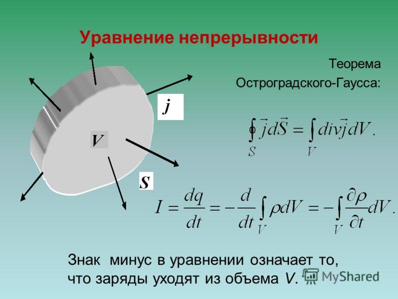 Уравнение непрерывности Теорема Остроградского-Гаусса: Знак минуc в уравнении означает то, что заряды уходят из объема V.