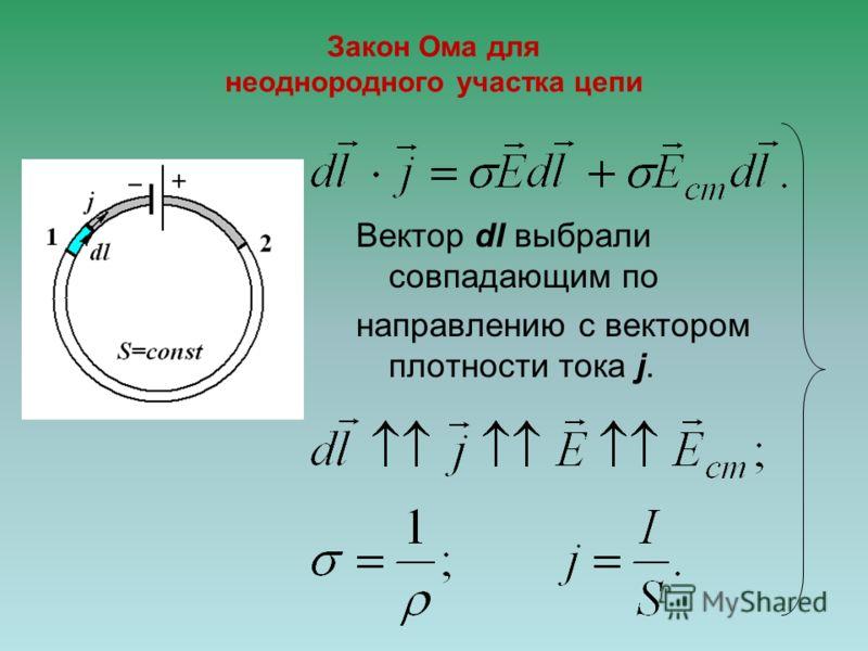 Закон Ома для неоднородного участка цепи Вектор dl выбрали совпадающим по направлению с вектором плотности тока j.