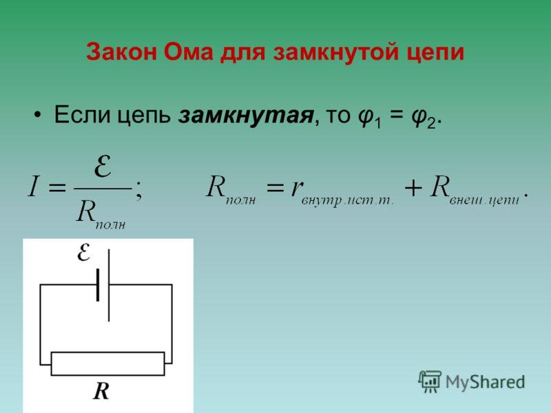 Закон Ома для замкнутой цепи Если цепь замкнутая, то φ 1 = φ 2.