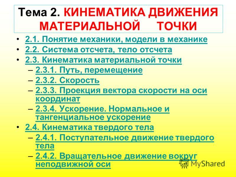 Тема 2. КИНЕМАТИКА ДВИЖЕНИЯ МАТЕРИАЛЬНОЙ ТОЧКИ 2.1. Понятие механики, модели в механике 2.2. Система отсчета, тело отсчета 2.3. Кинематика материальной точки –2.3.1. Путь, перемещение2.3.1. Путь, перемещение –2.3.2. Скорость2.3.2. Скорость –2.3.3. Пр
