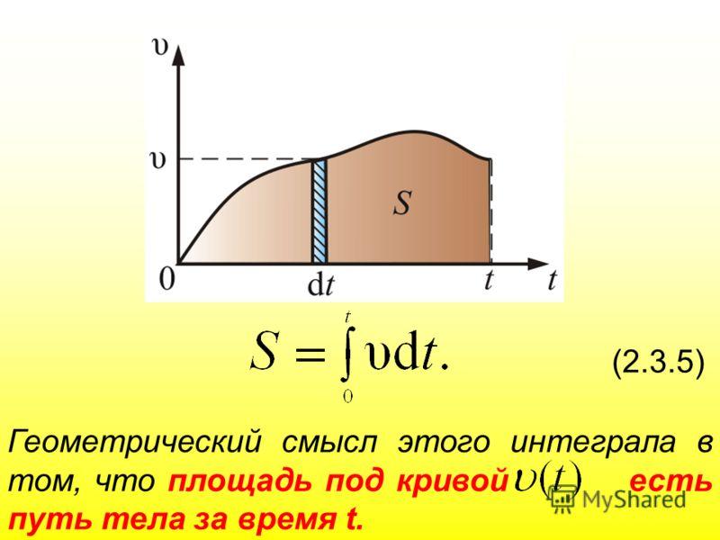 (2.3.5) Геометрический смысл этого интеграла в том, что площадь под кривой есть путь тела за время t.