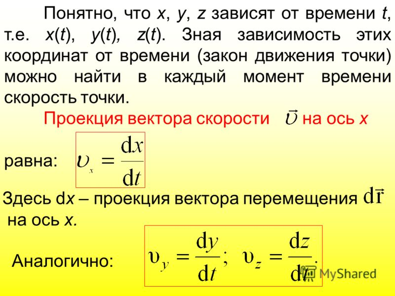 Понятно, что х, y, z зависят от времени t, т.е. x(t), y(t), z(t). Зная зависимость этих координат от времени (закон движения точки) можно найти в каждый момент времени скорость точки. Проекция вектора скорости на ось x равна: Здесь dx – проекция вект