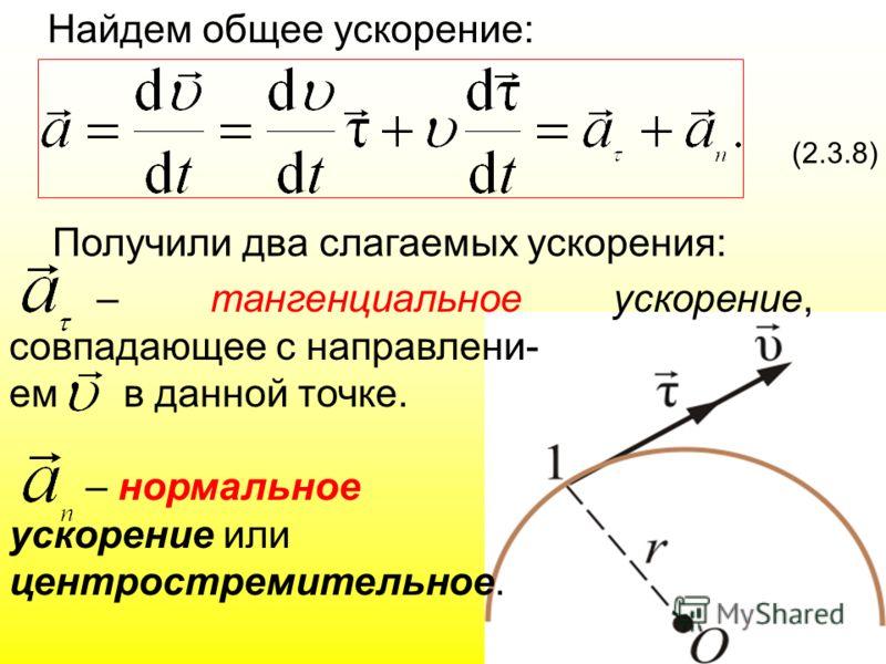 Найдем общее ускорение: (2.3.8) Получили два слагаемых ускорения: – тангенциальное ускорение, совпадающее с направлени- ем в данной точке. – нормальное ускорение или центростремительное.