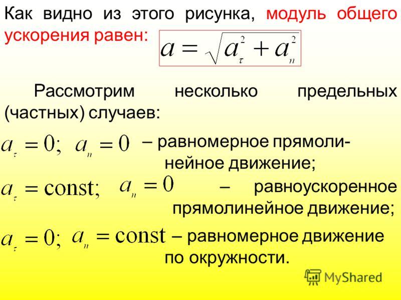 Как видно из этого рисунка, модуль общего ускорения равен: Рассмотрим несколько предельных (частных) случаев: – равномерное прямоли- нейное движение; – равноускоренное прямолинейное движение; – равномерное движение по окружности.