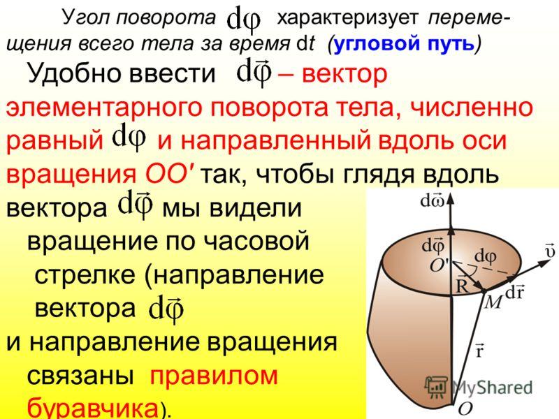 Угол поворота характеризует переме- щения всего тела за время dt (угловой путь) Удобно ввести – вектор элементарного поворота тела, численно равный и направленный вдоль оси вращения ОО' так, чтобы глядя вдоль вектора мы видели вращение по часовой стр