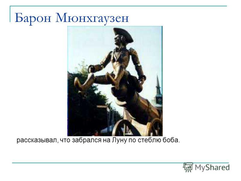 Барон Мюнхгаузен рассказывал, что забрался на Луну по стеблю боба.