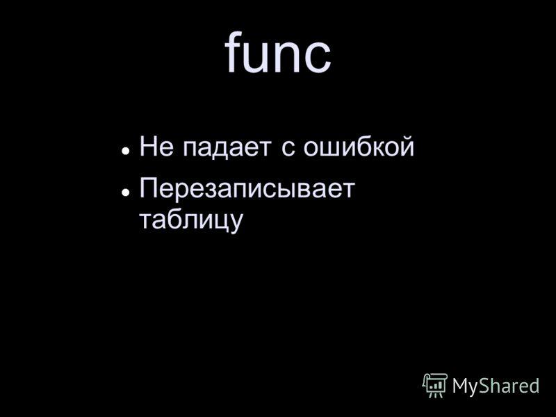 func Не падает с ошибкой Перезаписывает таблицу