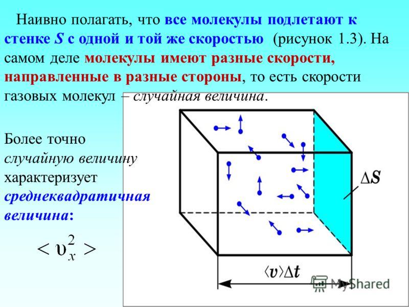 Наивно полагать, что все молекулы подлетают к стенке S с одной и той же скоростью (рисунок 1.3). На самом деле молекулы имеют разные скорости, направленные в разные стороны, то есть скорости газовых молекул – случайная величина. Более точно случайную