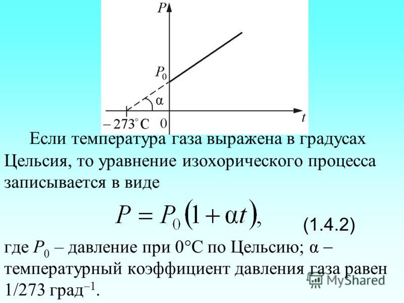 Если температура газа выражена в градусах Цельсия, то уравнение изохорического процесса записывается в виде (1.4.2) где Р 0 – давление при 0 С по Цельсию; α температурный коэффициент давления газа равен 1/273 град 1.