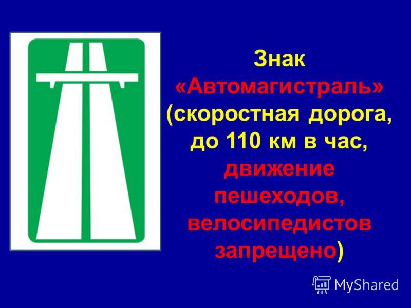Знак «Автомагистраль» (скоростная дорога, до 110 км в час, движение пешеходов, велосипедистов запрещено)