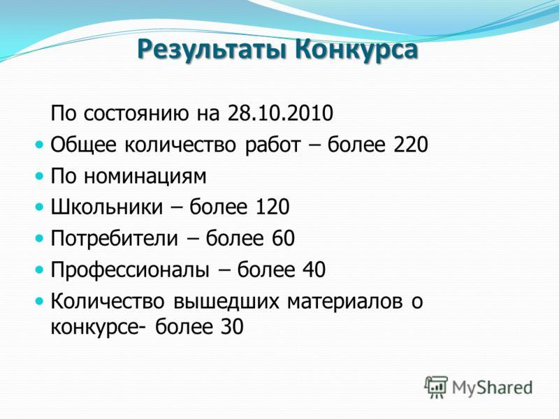 Результаты Конкурса По состоянию на 28.10.2010 Общее количество работ – более 220 По номинациям Школьники – более 120 Потребители – более 60 Профессионалы – более 40 Количество вышедших материалов о конкурсе- более 30
