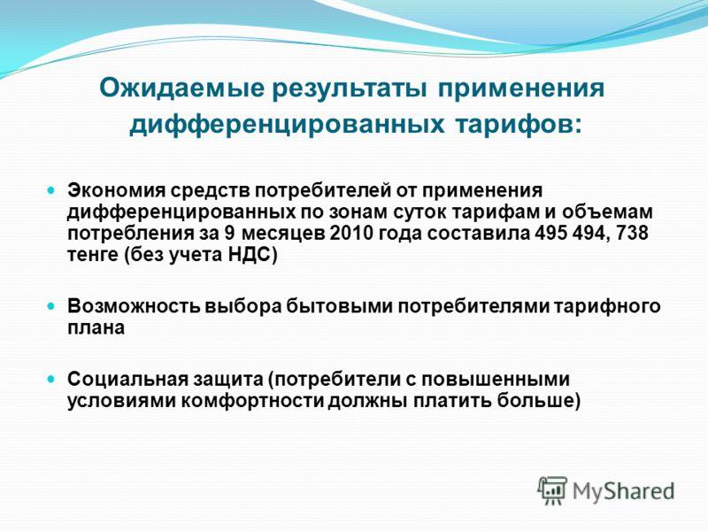 Ожидаемые результаты применения дифференцированных тарифов: Экономия средств потребителей от применения дифференцированных по зонам суток тарифам и объемам потребления за 9 месяцев 2010 года составила 495 494, 738 тенге (без учета НДС) Возможность вы